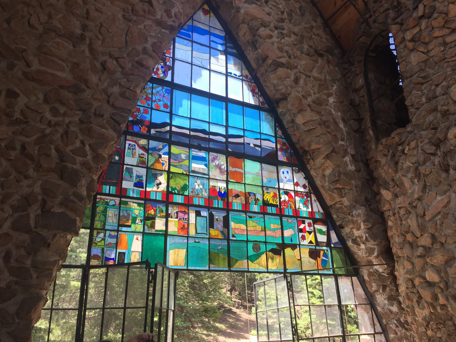 Custom stained glass memorials are created by a local artist and installed by Bishop.