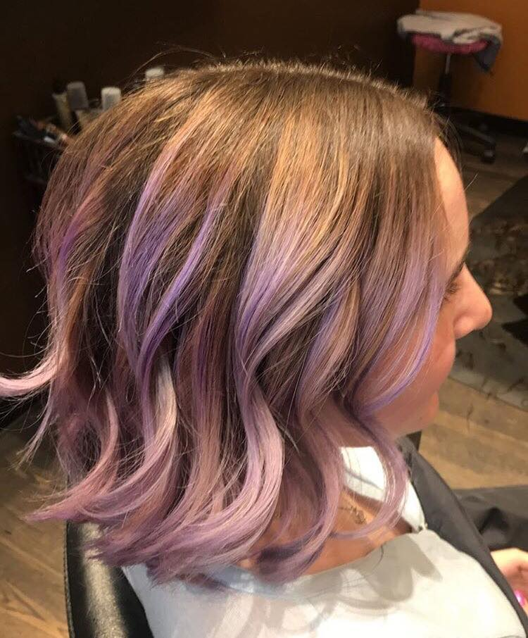 Sweet lavender 💜 created by Guiselle in our Marblehead salon.