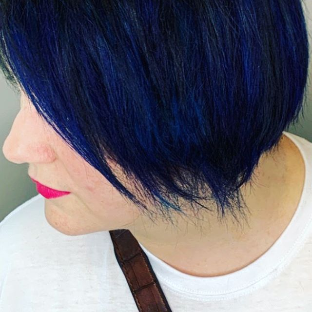Black & blue w s sweet kiss of pink. Cut/color by Trish.