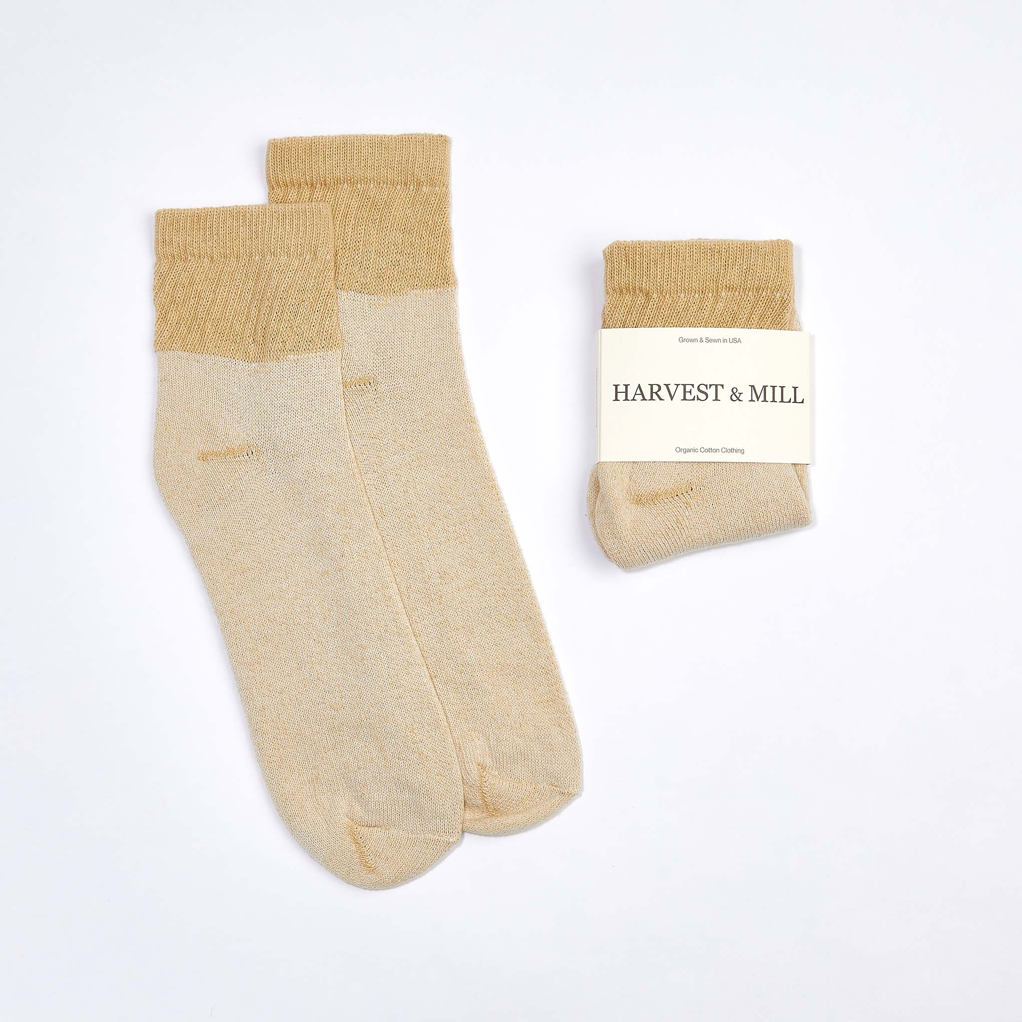 Organic Cotton Socks Tan-Green Ankle $9