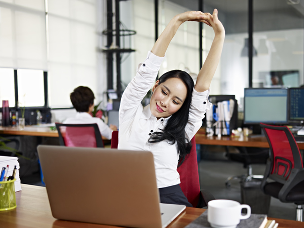 Asian Business woman stretching
