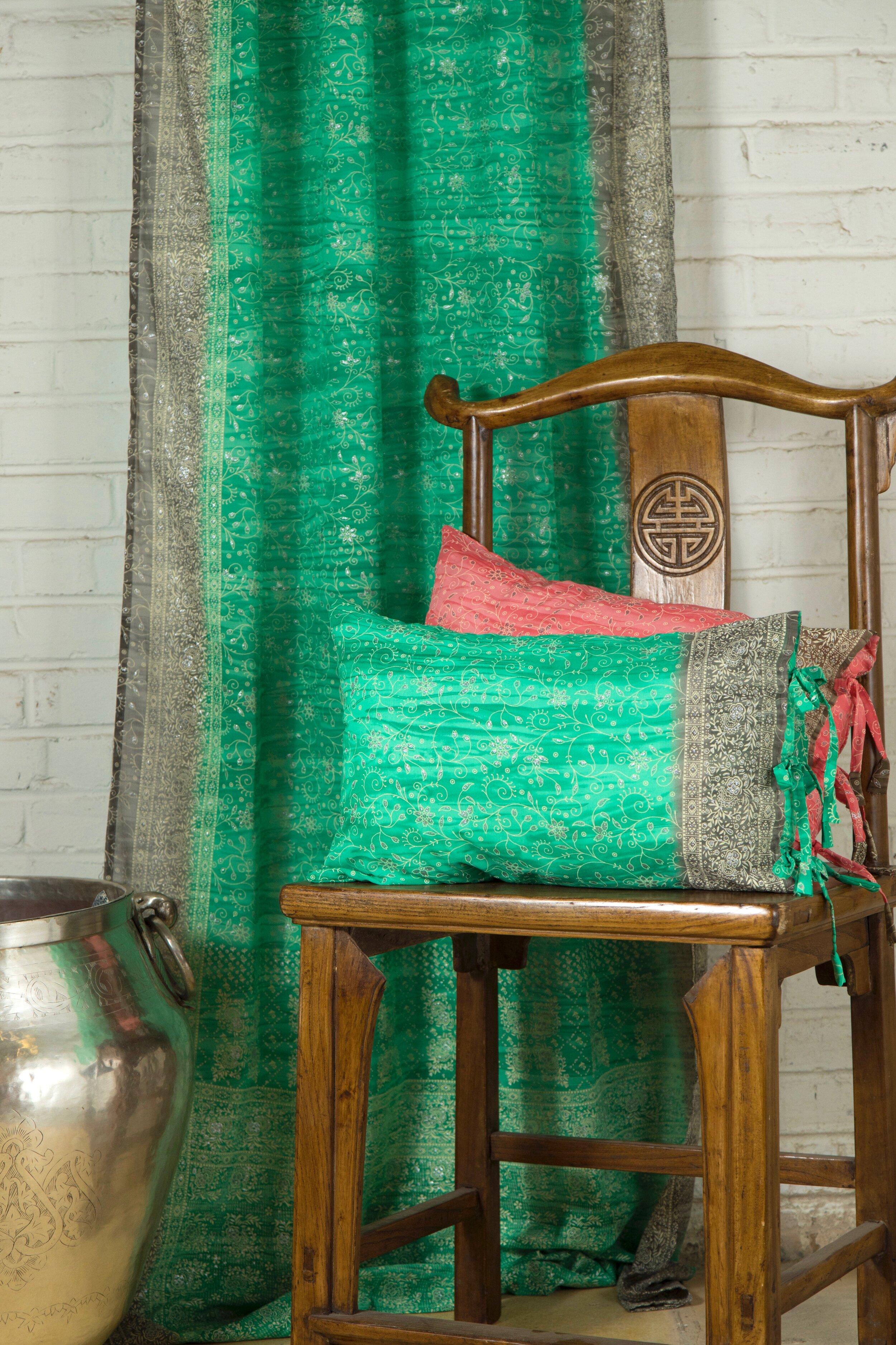 Sari Window Curtain Sea Green Taupe Colors By Padmini