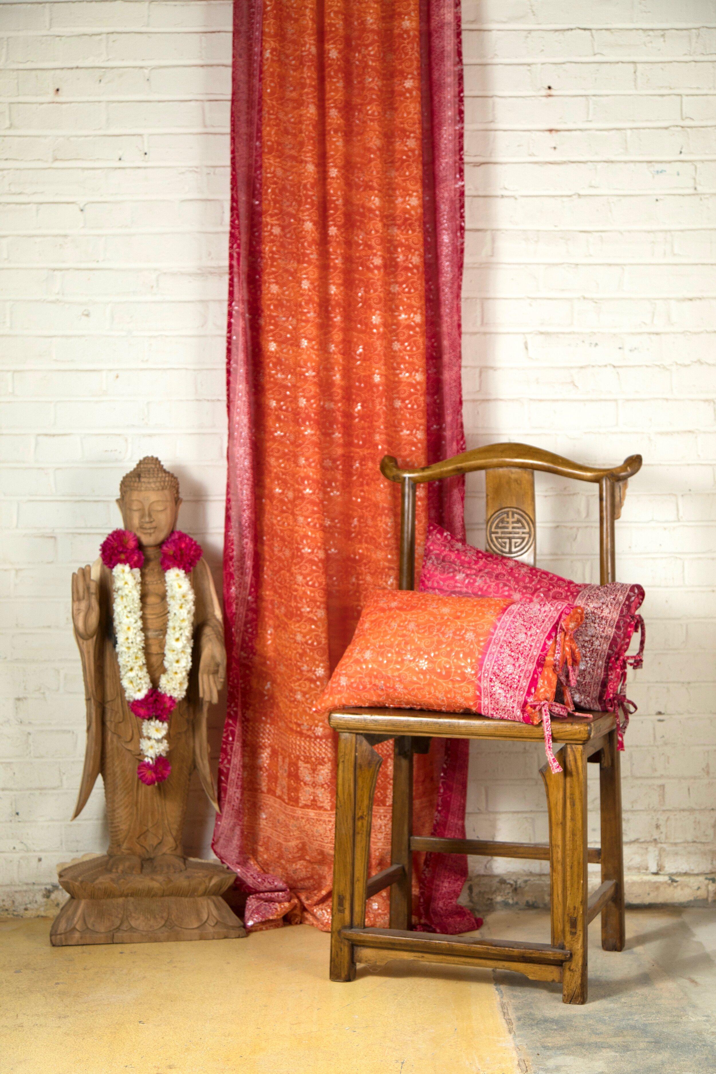 Sari Window Curtain Orange Crimson Pink Colors By Padmini