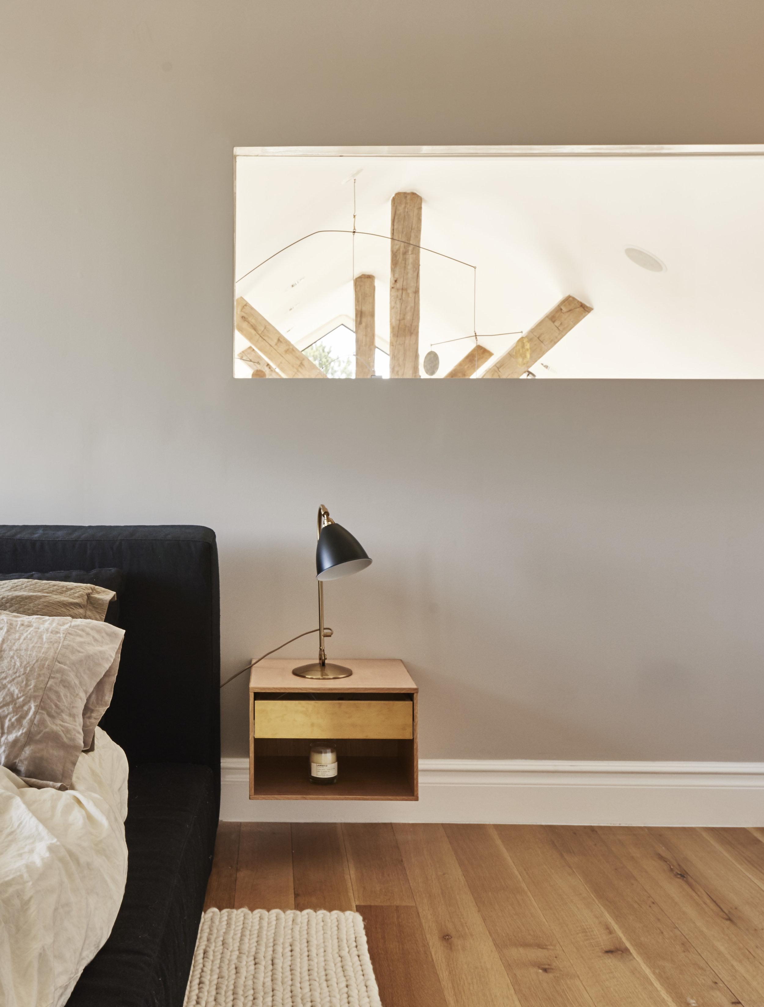 Modern Hamptons barn bedroom and side table