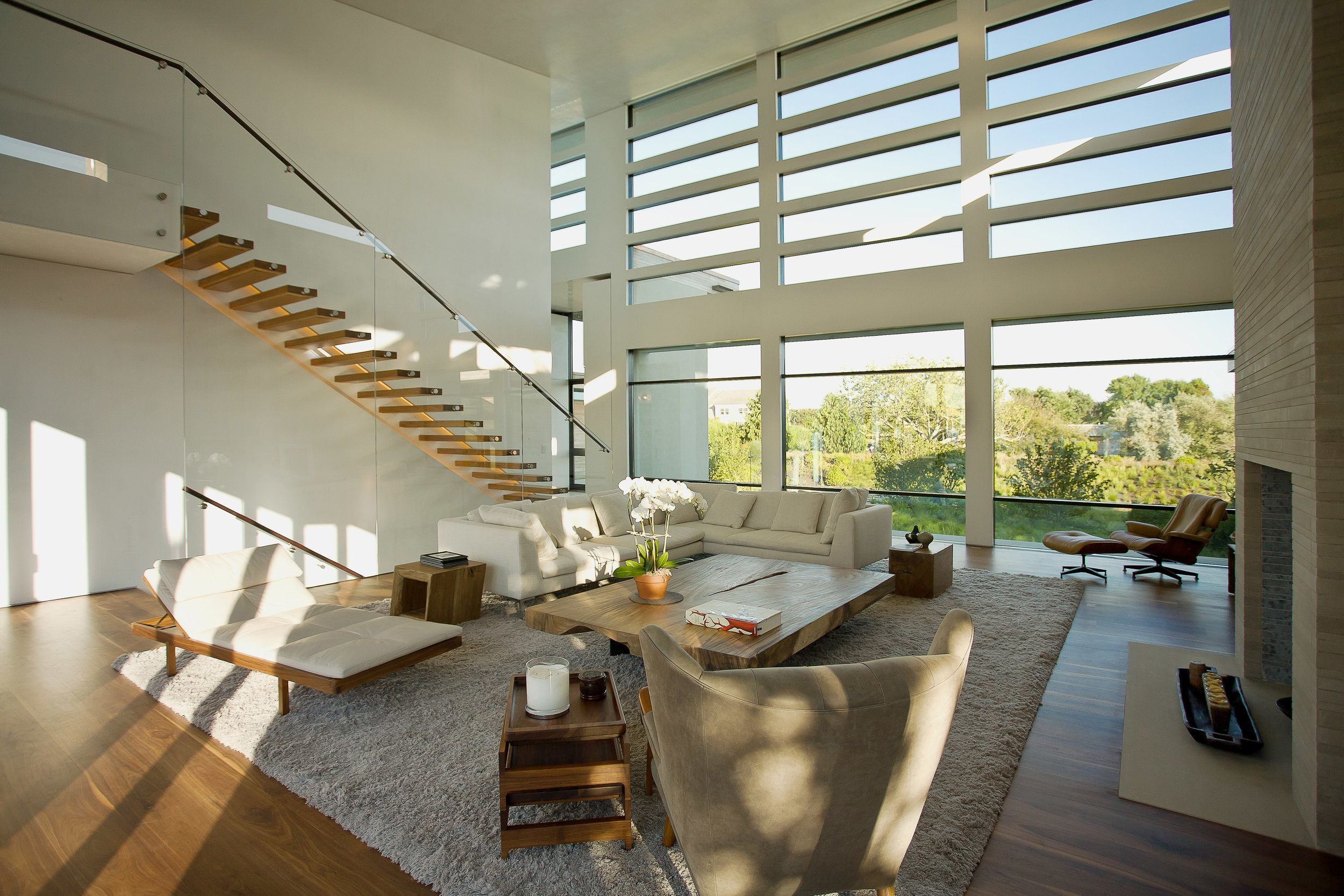 Bridgehampton living room and stairway