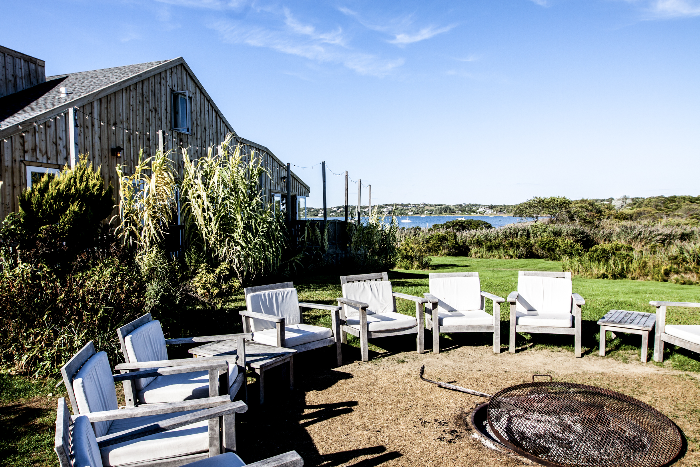 Hotel and restaurant surf shack fire pit in Montauk, New York