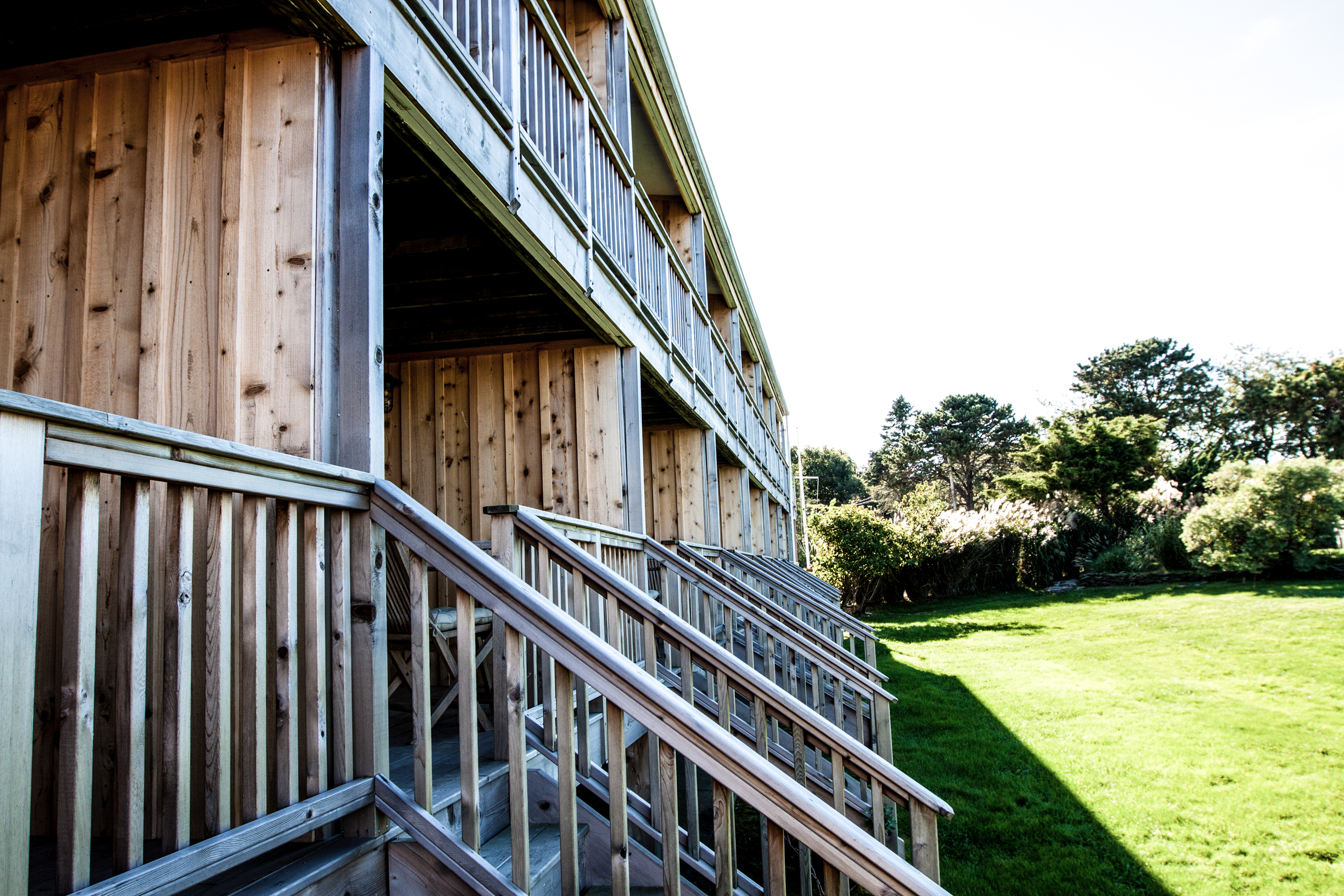 Hotel and restaurant surf shack in Montauk, New York with wood siding