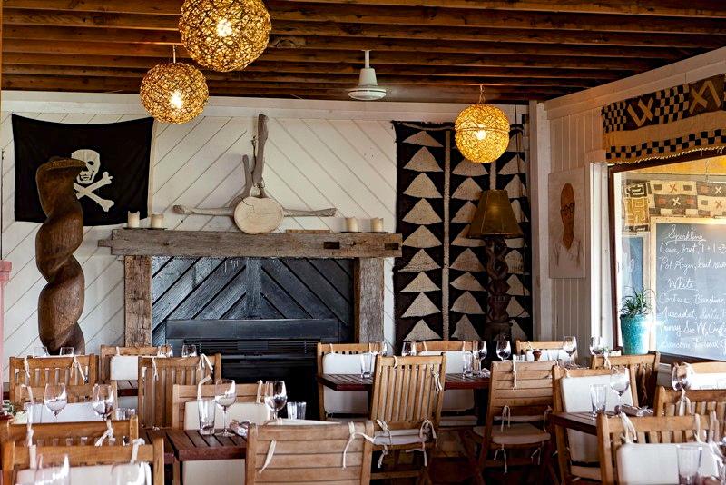 Hotel restaurant surf shack interior in Montauk, New York