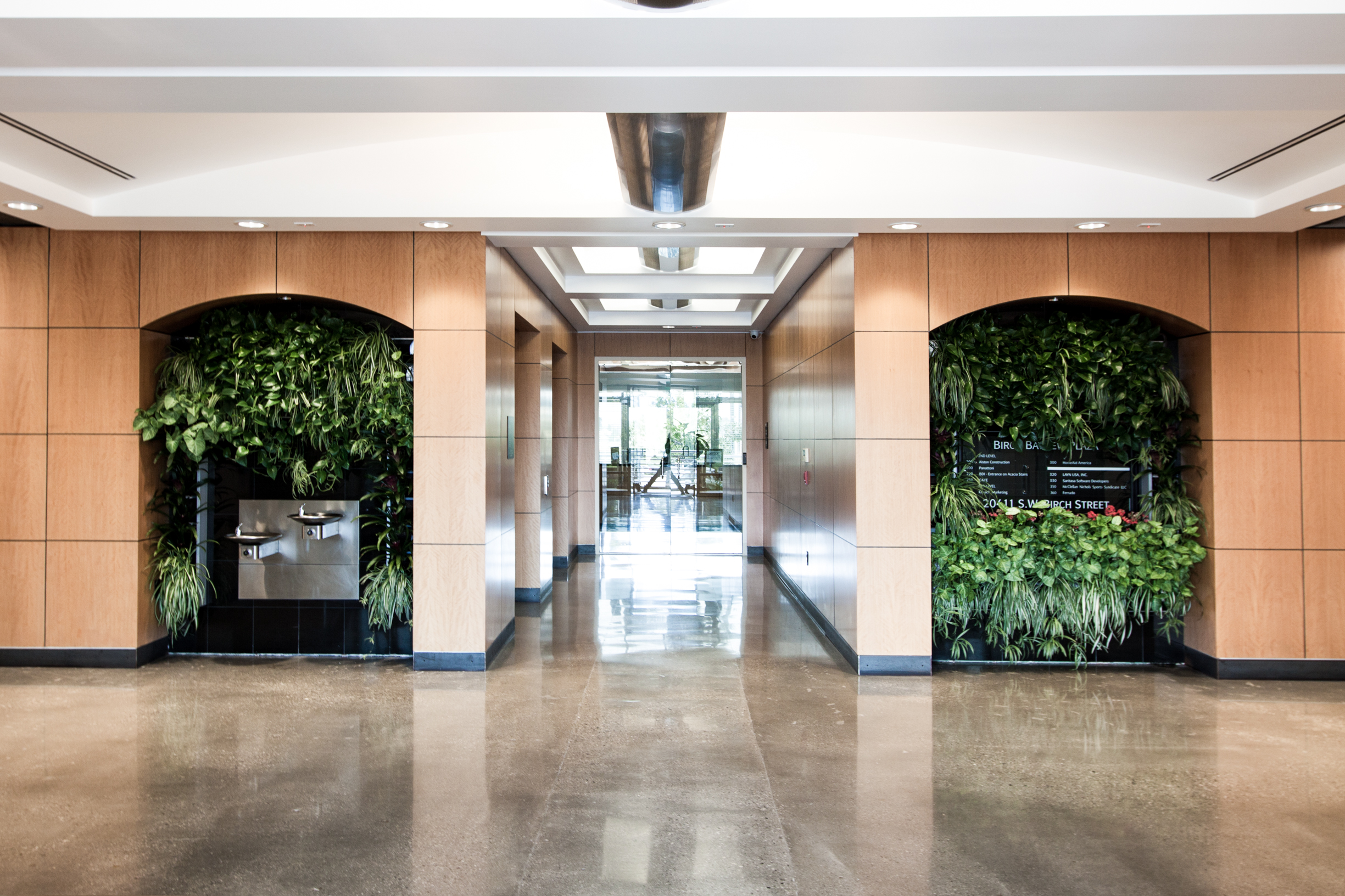 Newport Office complex lobby natural light and plants