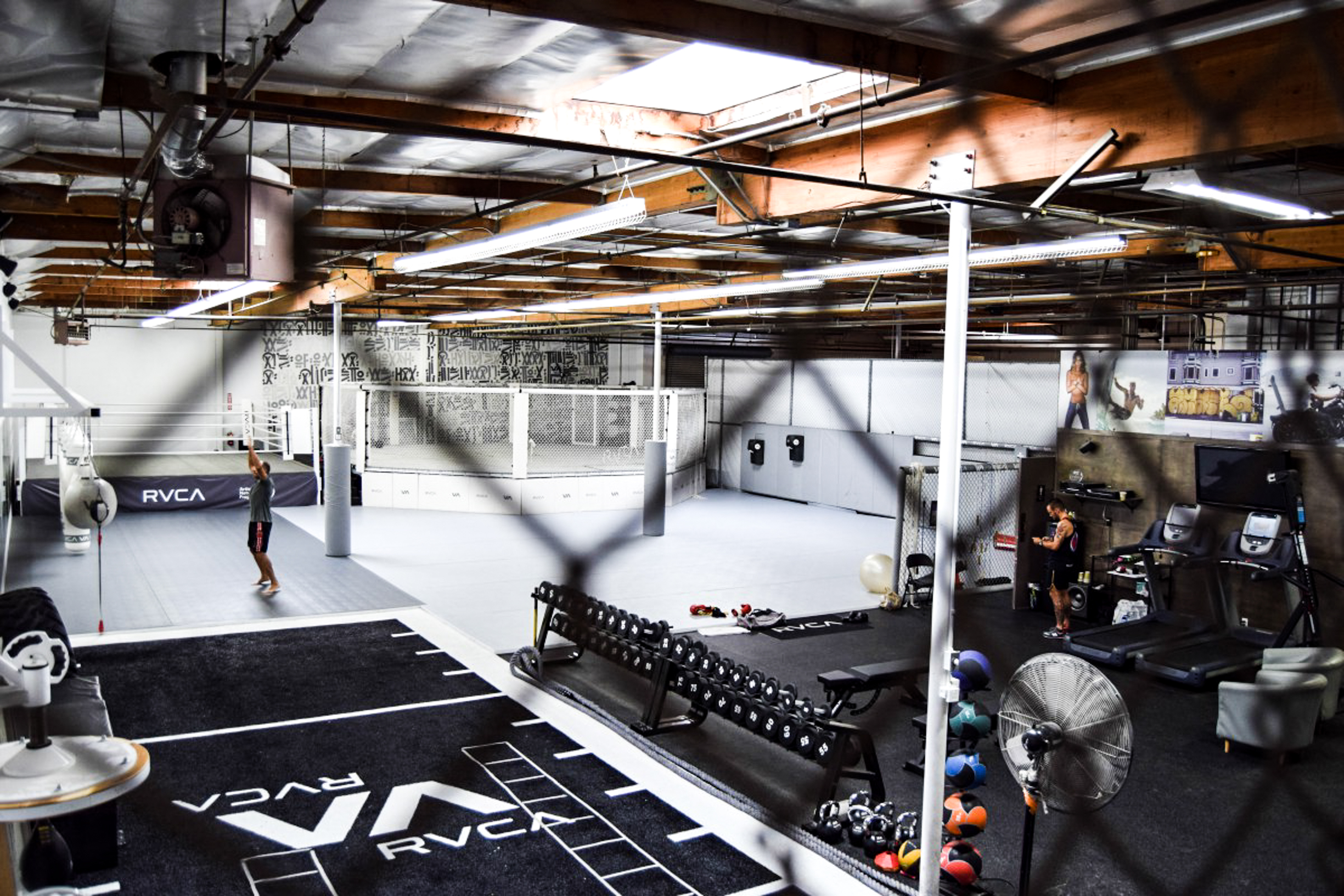 California indoor skate park with exercise equipment gym