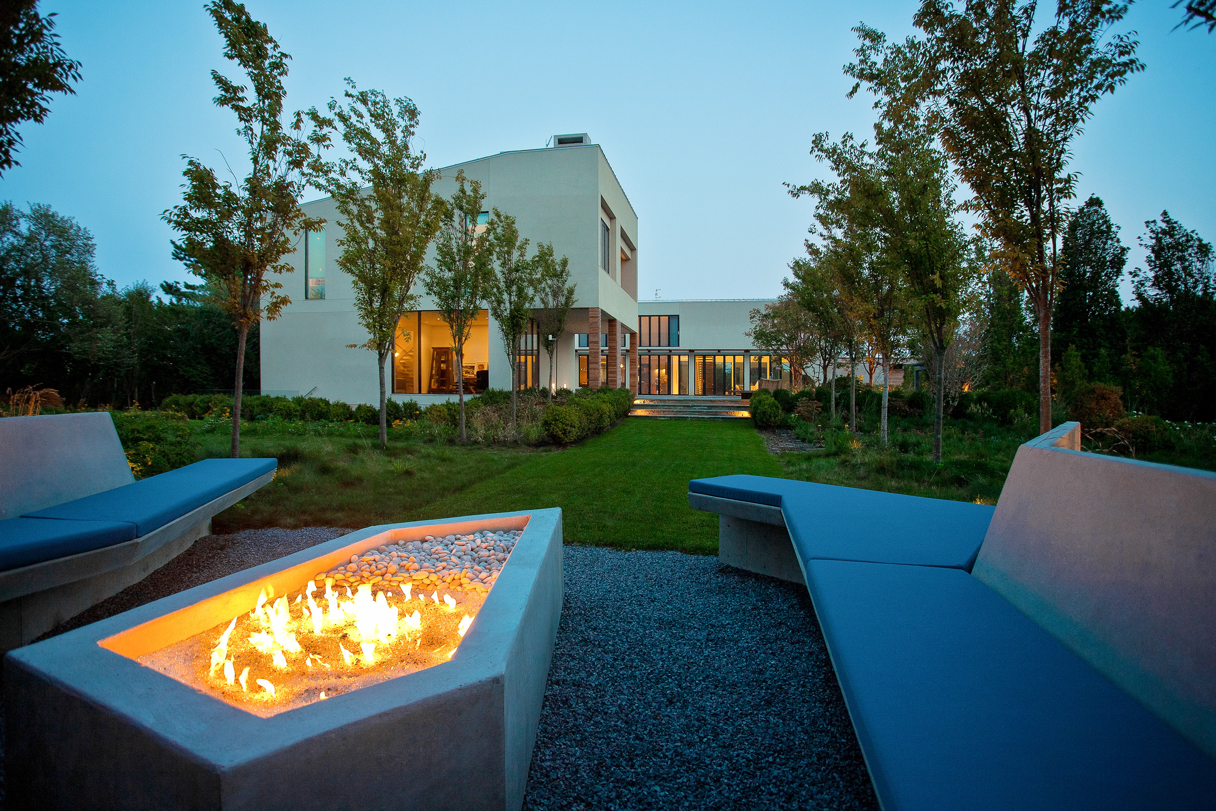 Exterior of Bridgehampton house and fire pit