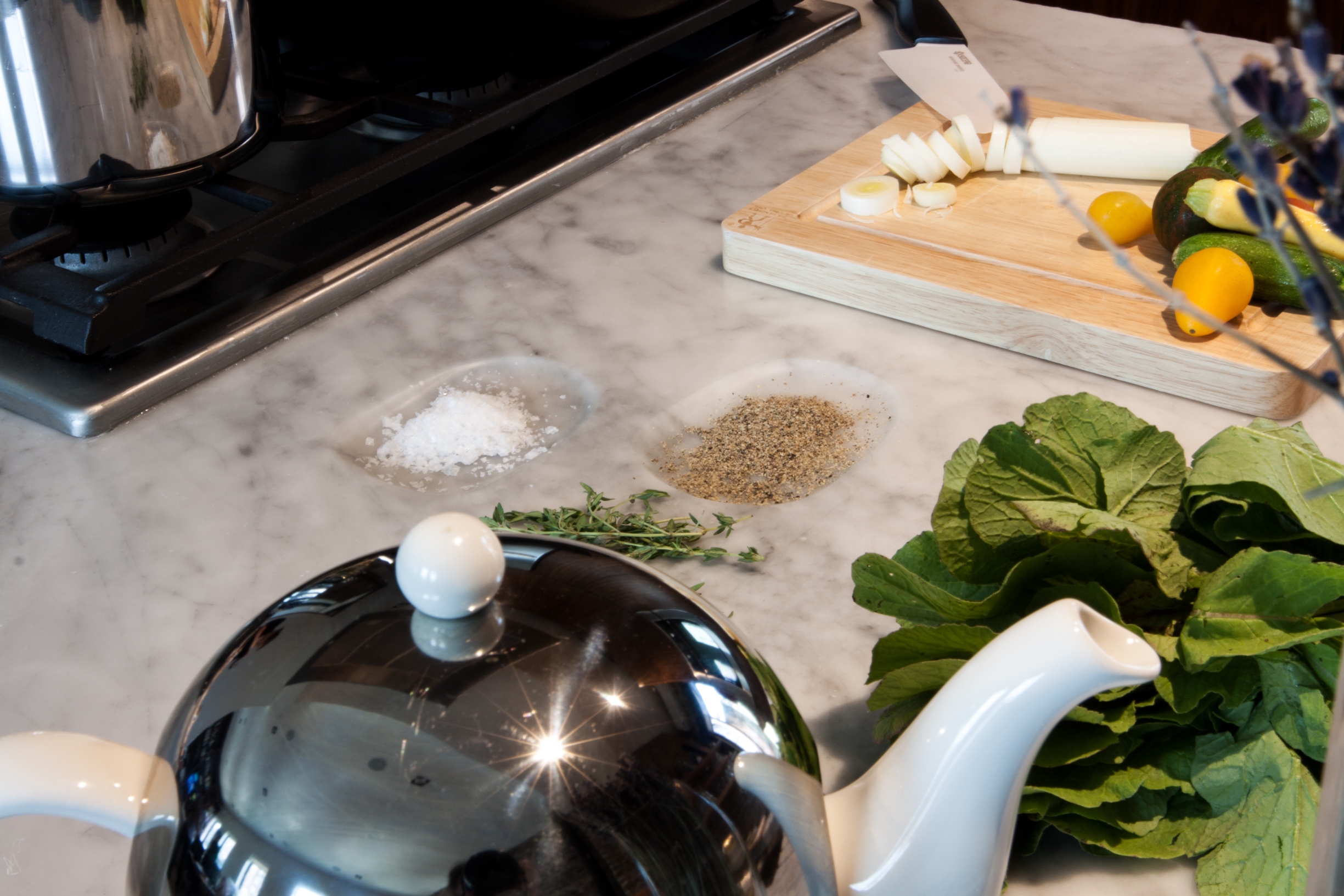 Marble countertop with custom salt and pepper