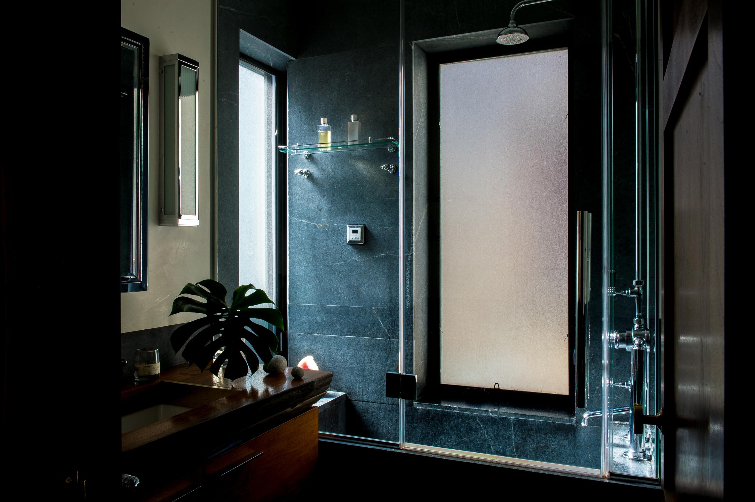 Modern New York apartment bathroom with dark stone shower