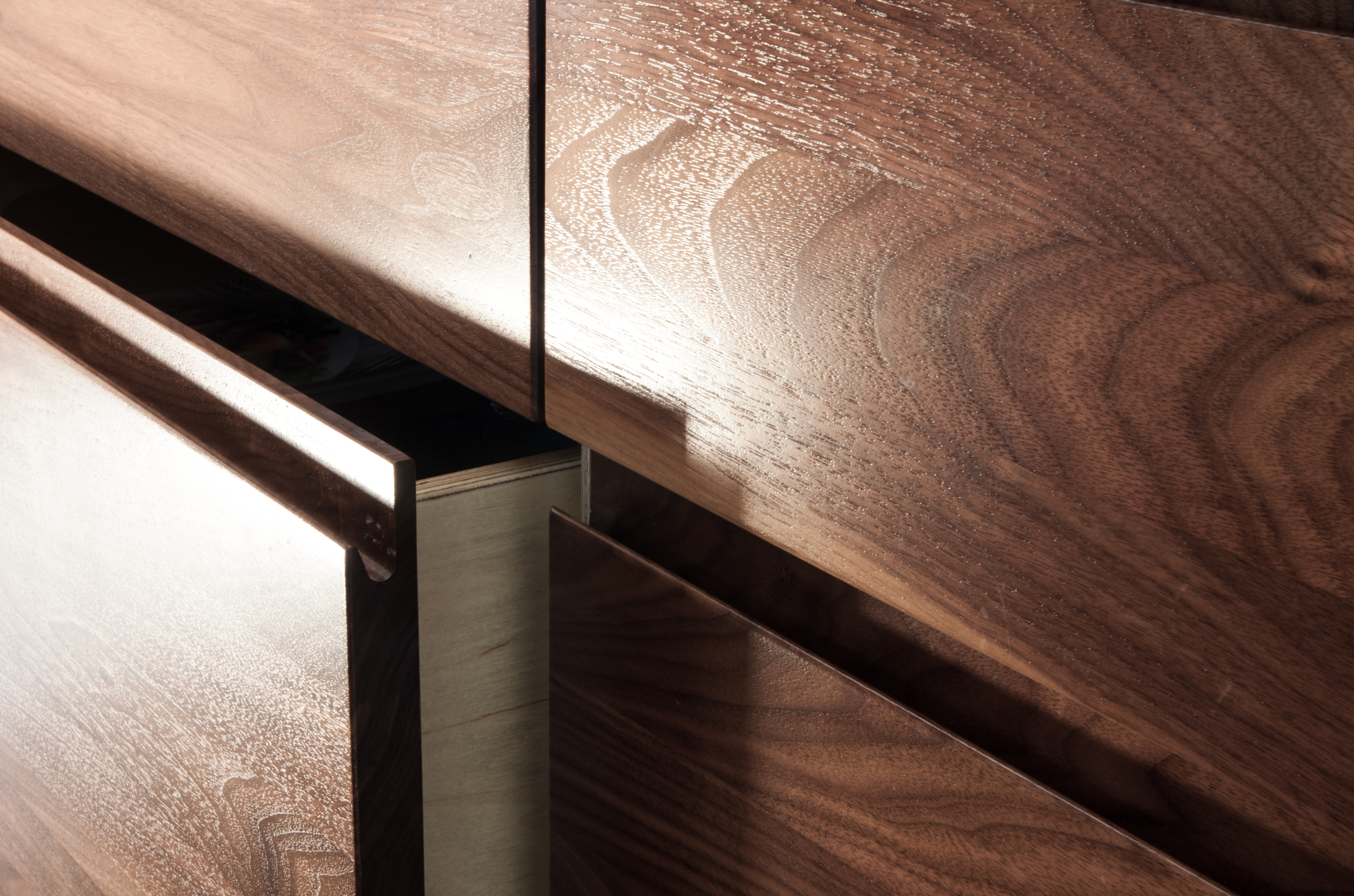Wood drawer detail open