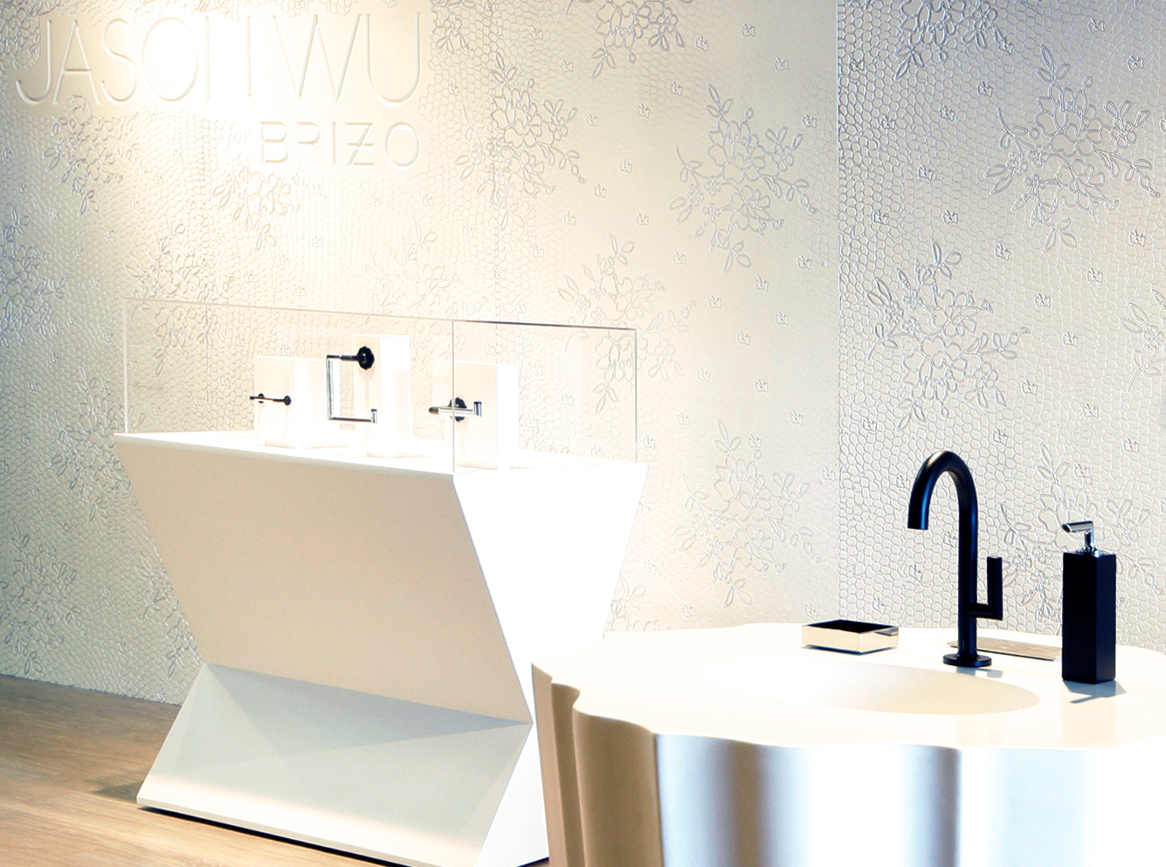 Brizo Jason Wu collection minimal modern bathroom   showroom with black fixtures