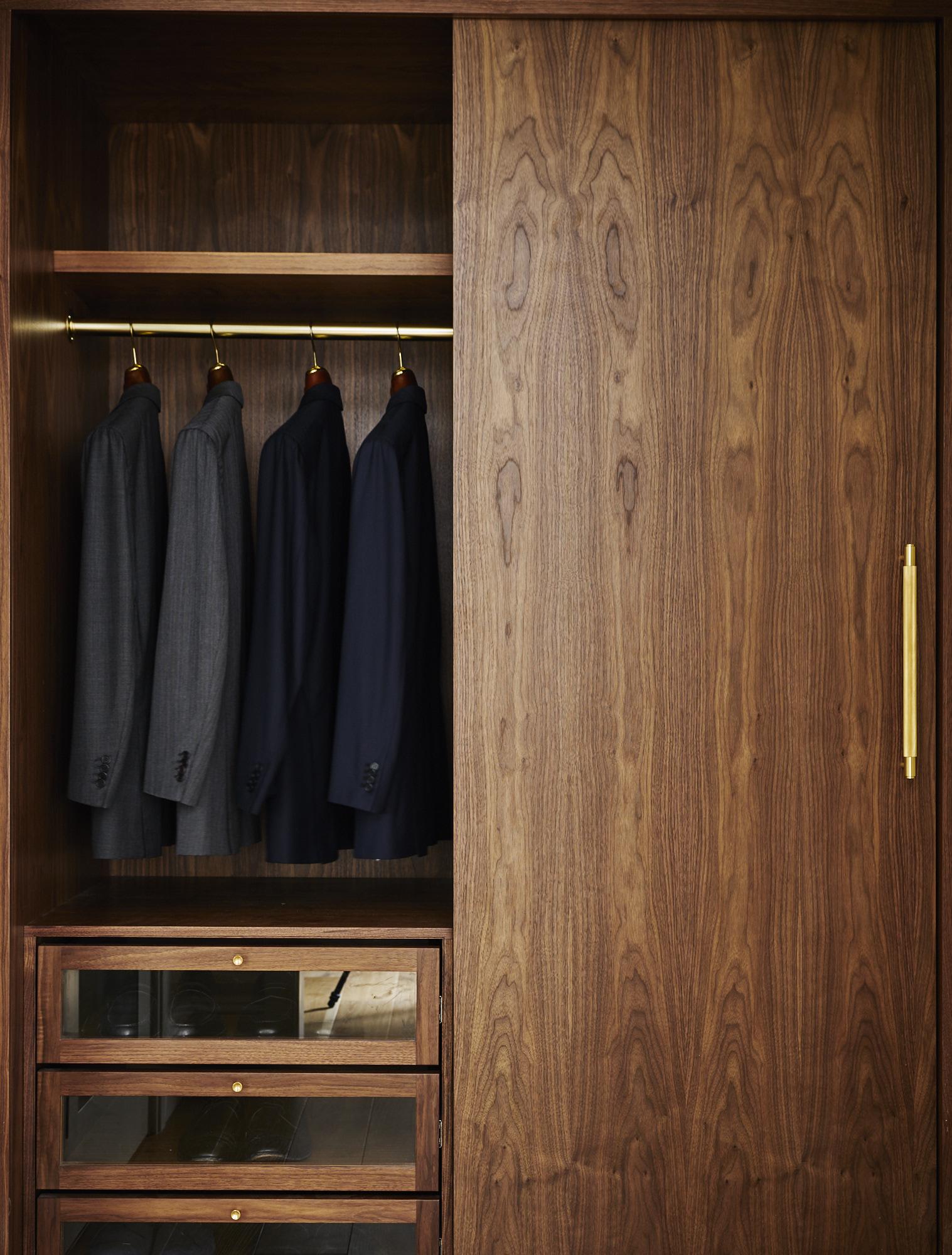 Modern Soho loft renovation custom men's walk-in closet