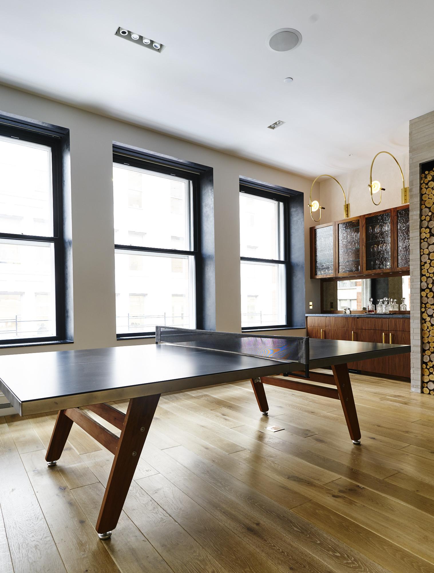 Modern Soho loft renovation pool table and dry bar