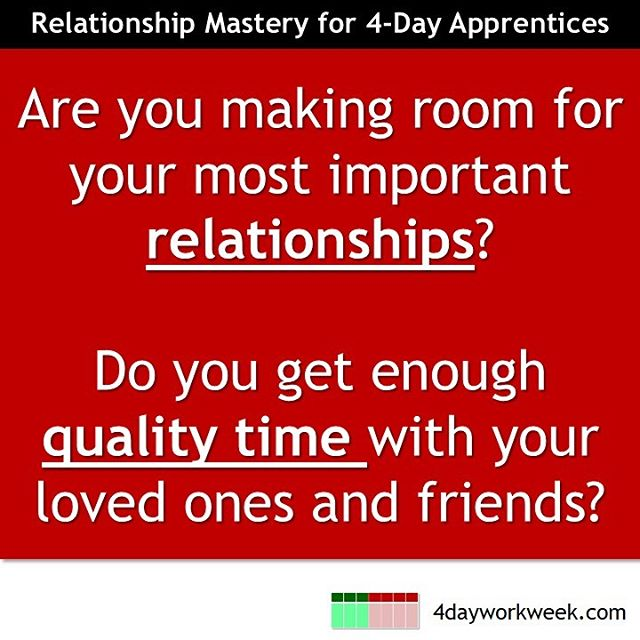 Whether you work a 4-Day Work Week yet or not, your ability to connect and spend time with your most important relationships significantly impacts your levels of happiness and fulfillment.  #4dayworkweek #entrepreneur #lifepriorities #worklesslivemore #dowhatyoulovedaily #productivedayoff #takeactiontoday