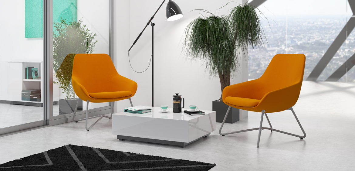 Lilly Lounge - At a glance, it's easy to see the classic sophisticated design lines and shapes of Lilly. Lilly is a well-crafted beauty with a warm embrace which allows her to enter any work or public space with grace. Lilly's variety of leg styles include wood legs, 4 or W-shape metal legs and an aluminum swivel base.