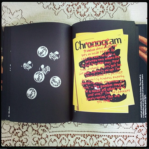 Chronogram  cover by James Victore, as seen in his book,  Who Died and Made You Boss?