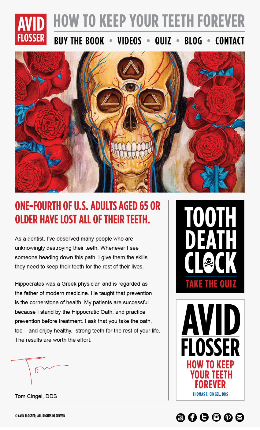 Avid Flosser Tom Cingel DDS Dental Advice Carla Rozman Graphic Design