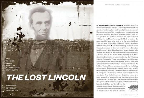 carla rozman graphic design magazine smithsonian magazine spread hidden photo lost lincoln