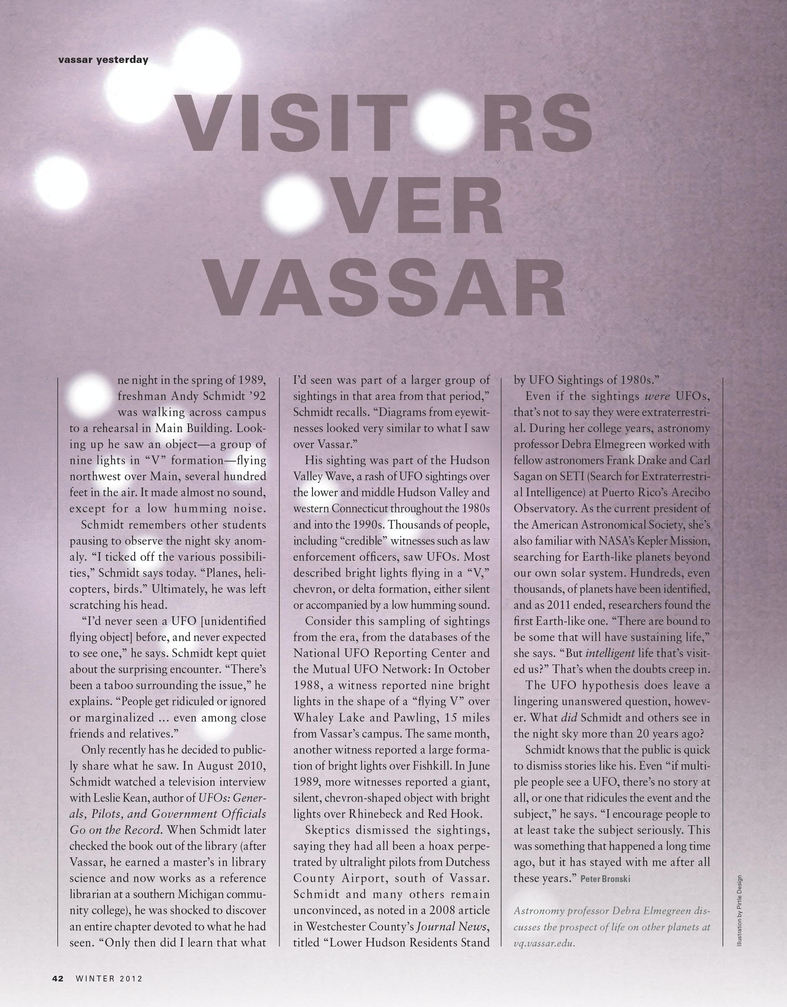 Visitors over Vassar Magazine Design