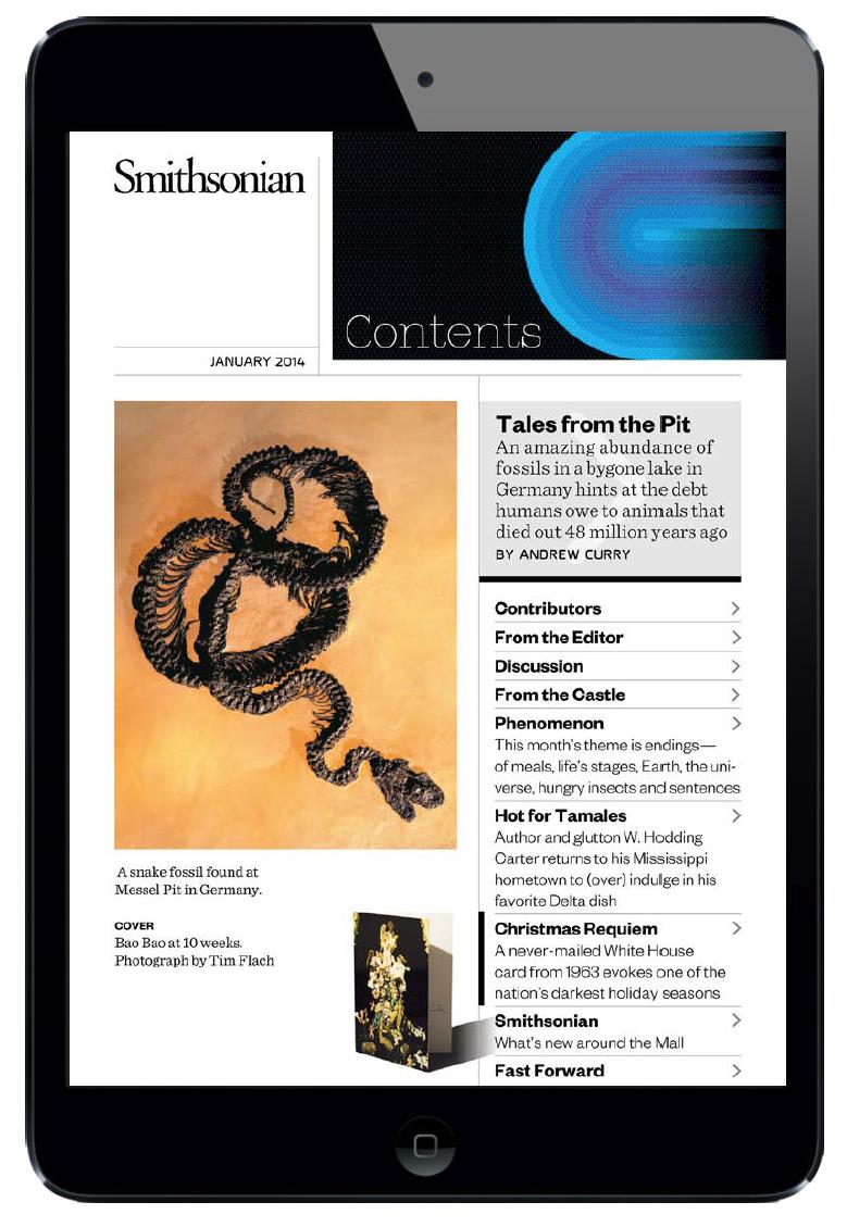 Smithsonian Magazine ipad table of contents