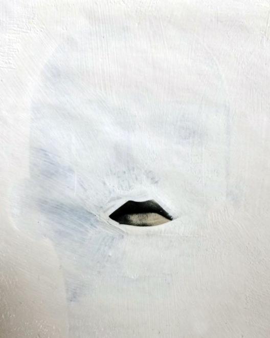 Last Kiss,  acrylic on magazine