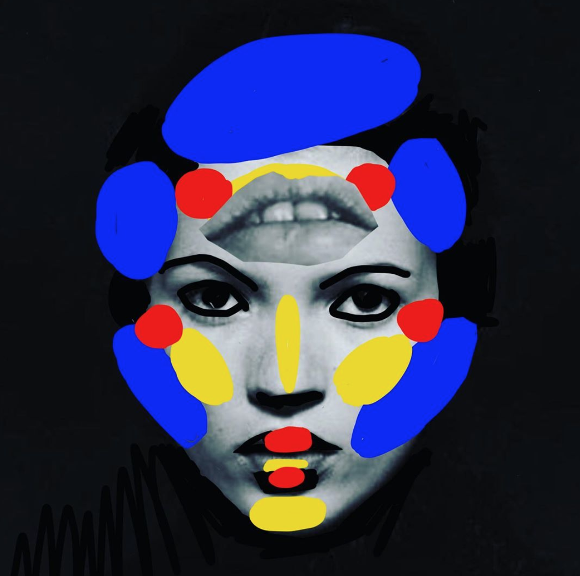 Music Pop Culture Colossal Photography Face Illustration Painting Editorial Magazine Design Carla Rozman @carlasimone Model Kate Moss Lips Album Cover .png