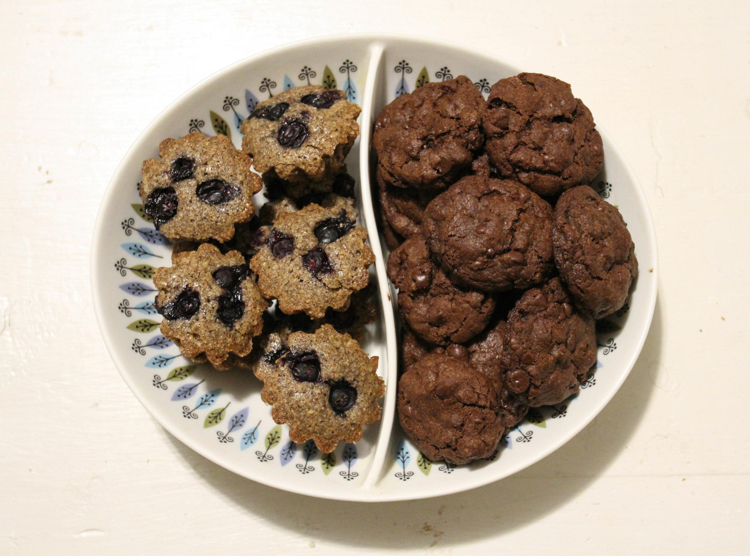 Buckwheat-blueberry financiers; Vahlrona chocolate cookies.