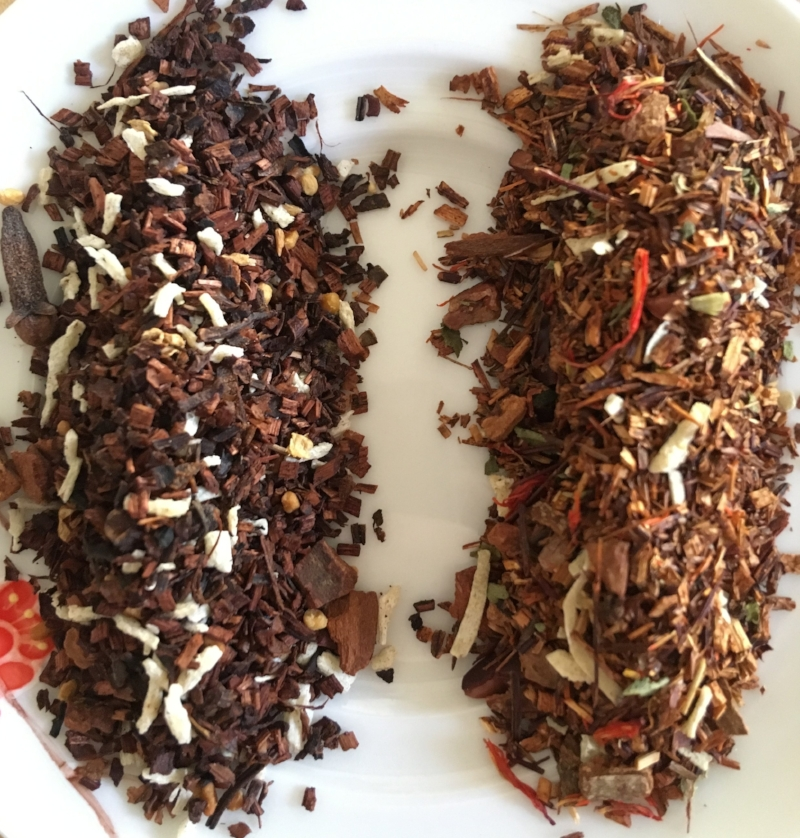 Pictured teas: Apple Cider Rooibos (Left) and Sweet Desert Delight Rooibos (Right)