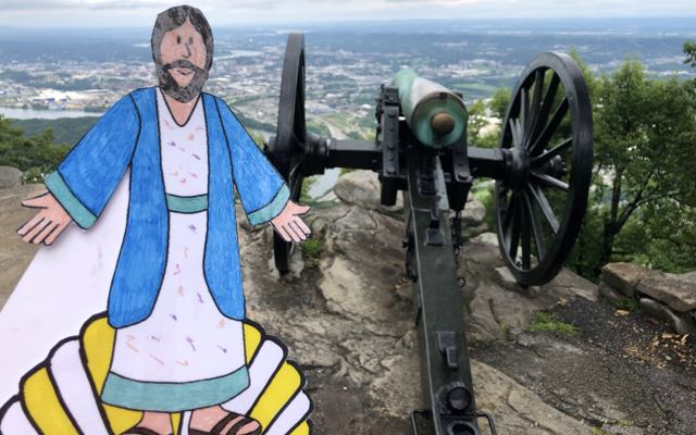 Inspecting Civil War cannons on Lookout Mountain, outside Chattanooga.