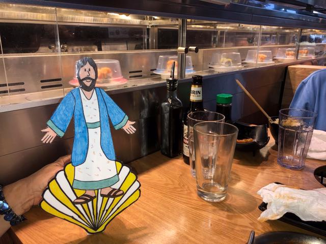 Flat James watches sushi at Rolls by Chubby Cattle