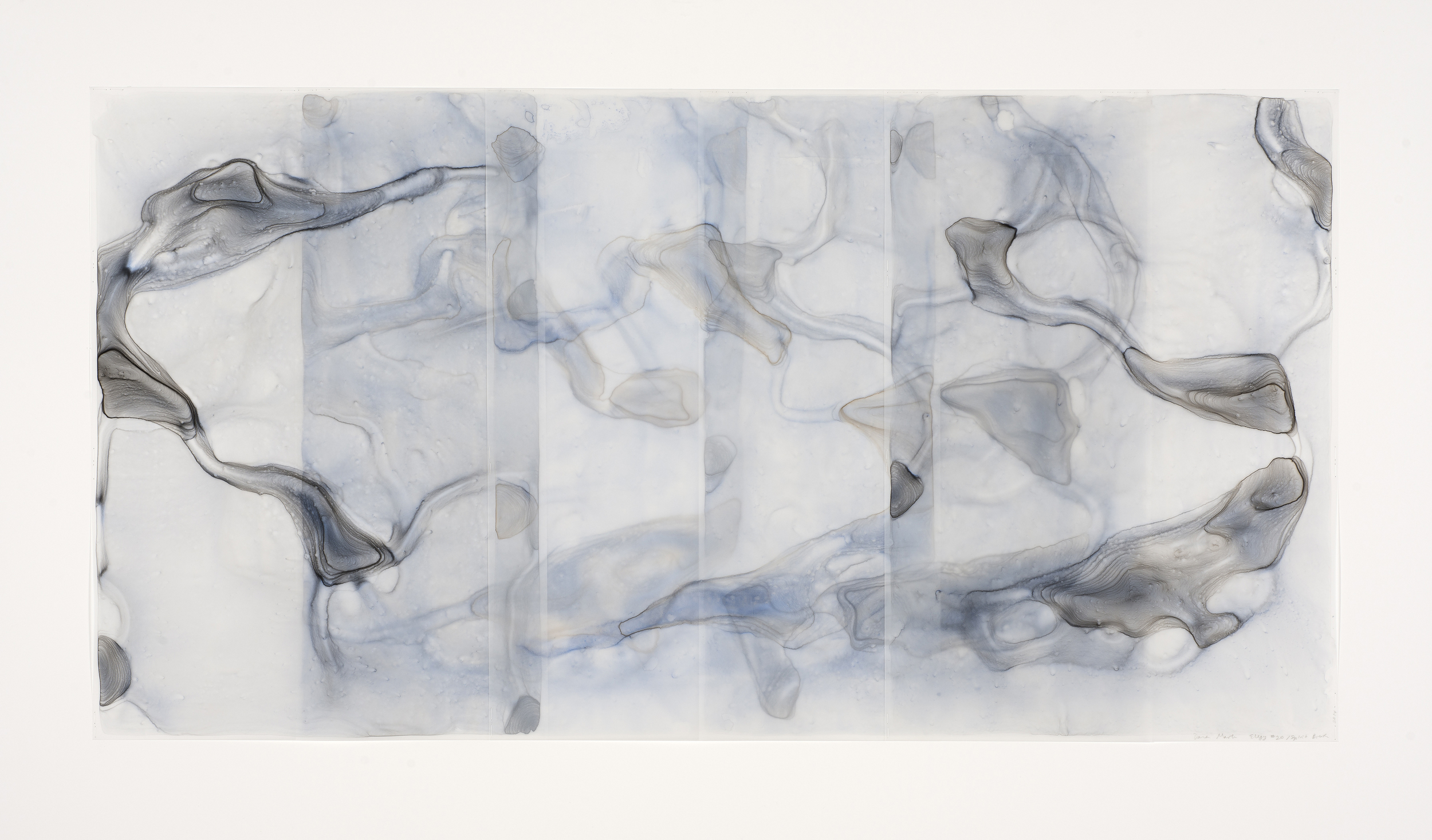 "Dara Mark, Elegy #20 Spirit Breath, 30""x60"", watercolor on translucent synthetic paper, 2015"