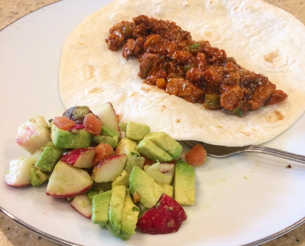 My first try with a Kroger Prep+Pared meal kit - Latin-Inspired Pork Tacos with Avocado Radish Salad. The kit made four tacos and a heap of salad!