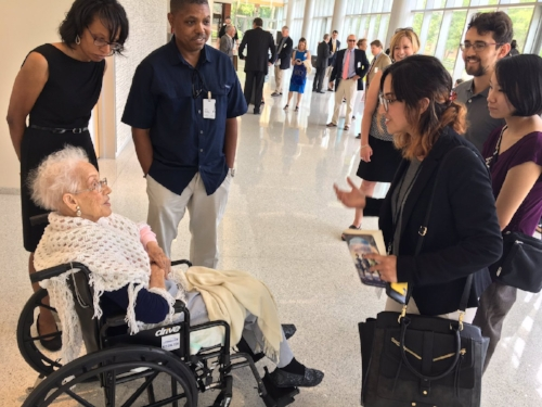 James Rosenberg and Victoria Aries met , Hidden Figures - Margot Lee Shetterly, at the NASA-Langley Centennial celebration.