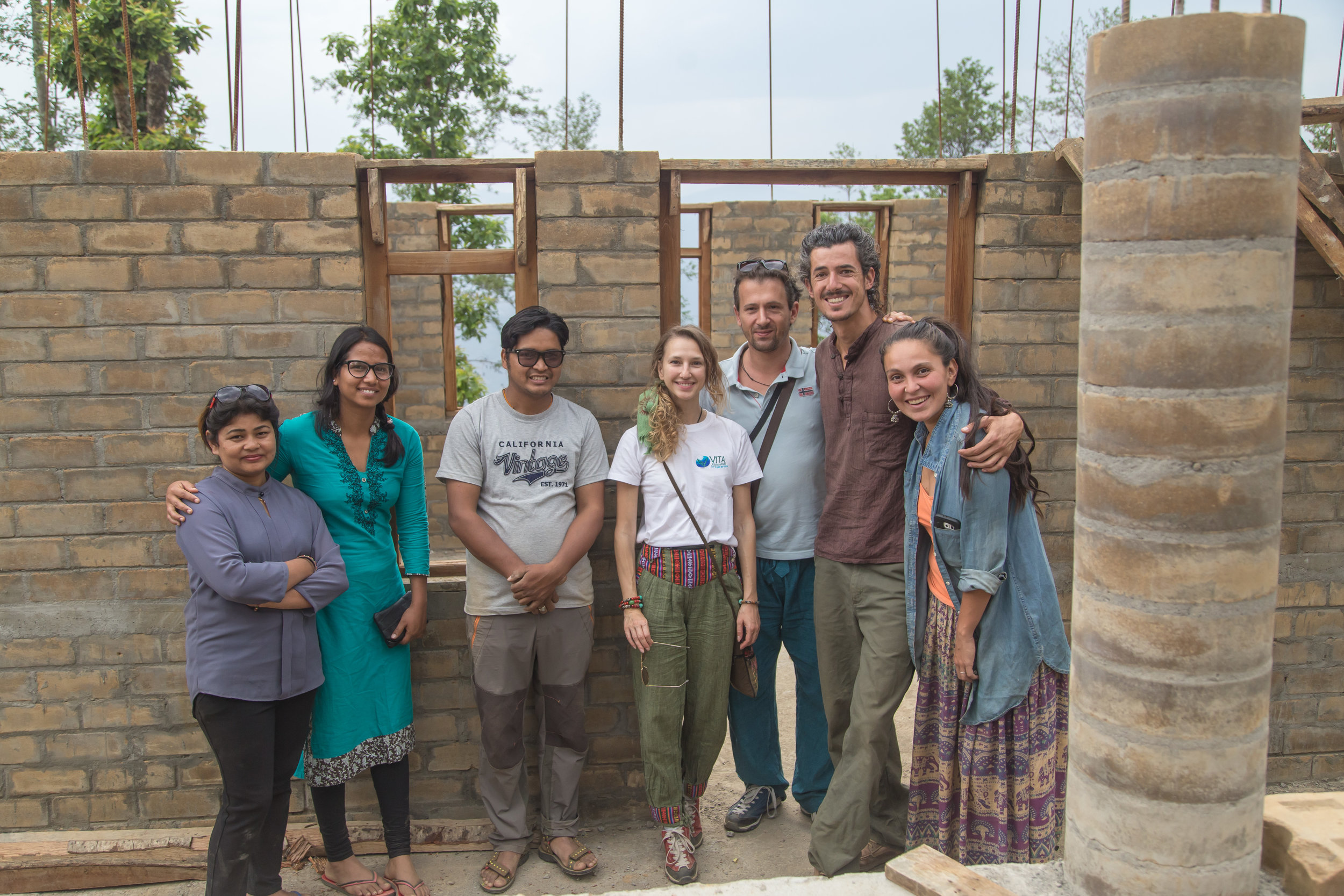 Some of the team that helped make it all happen: Mina Thapa (orphanage owner), Sunita Pandey (translator), Mr. Thapa, Valentina (donor), Francesco, Orion Haas (co-founder of Conscious Impact), Mariana Jimenez (overseeing engineer).