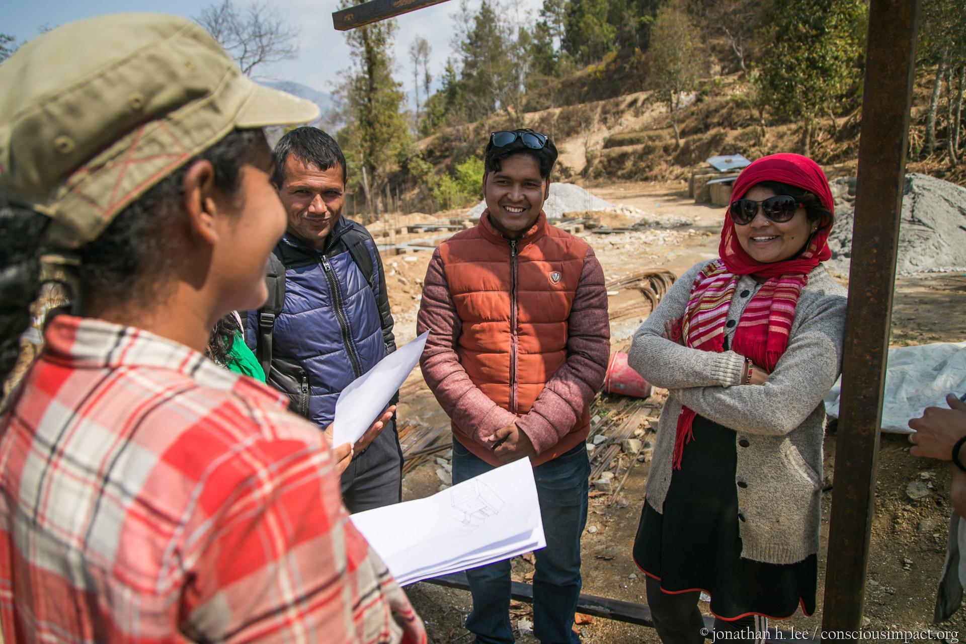 Architect, Satwika Tanduri, chatting with Mina Thapa about the design.