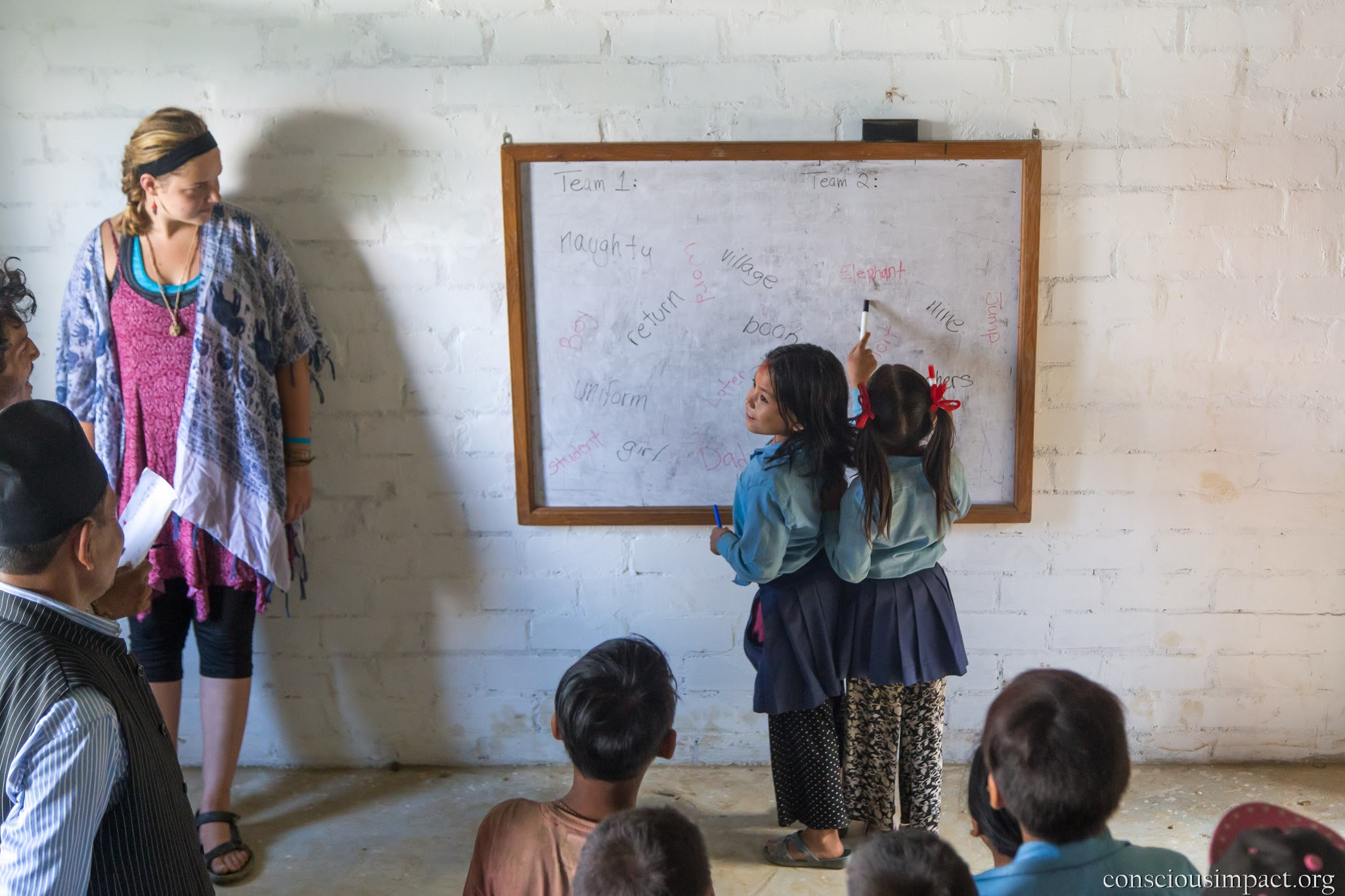 Students and volunteers learning together at the new Siddhartha Primary School.