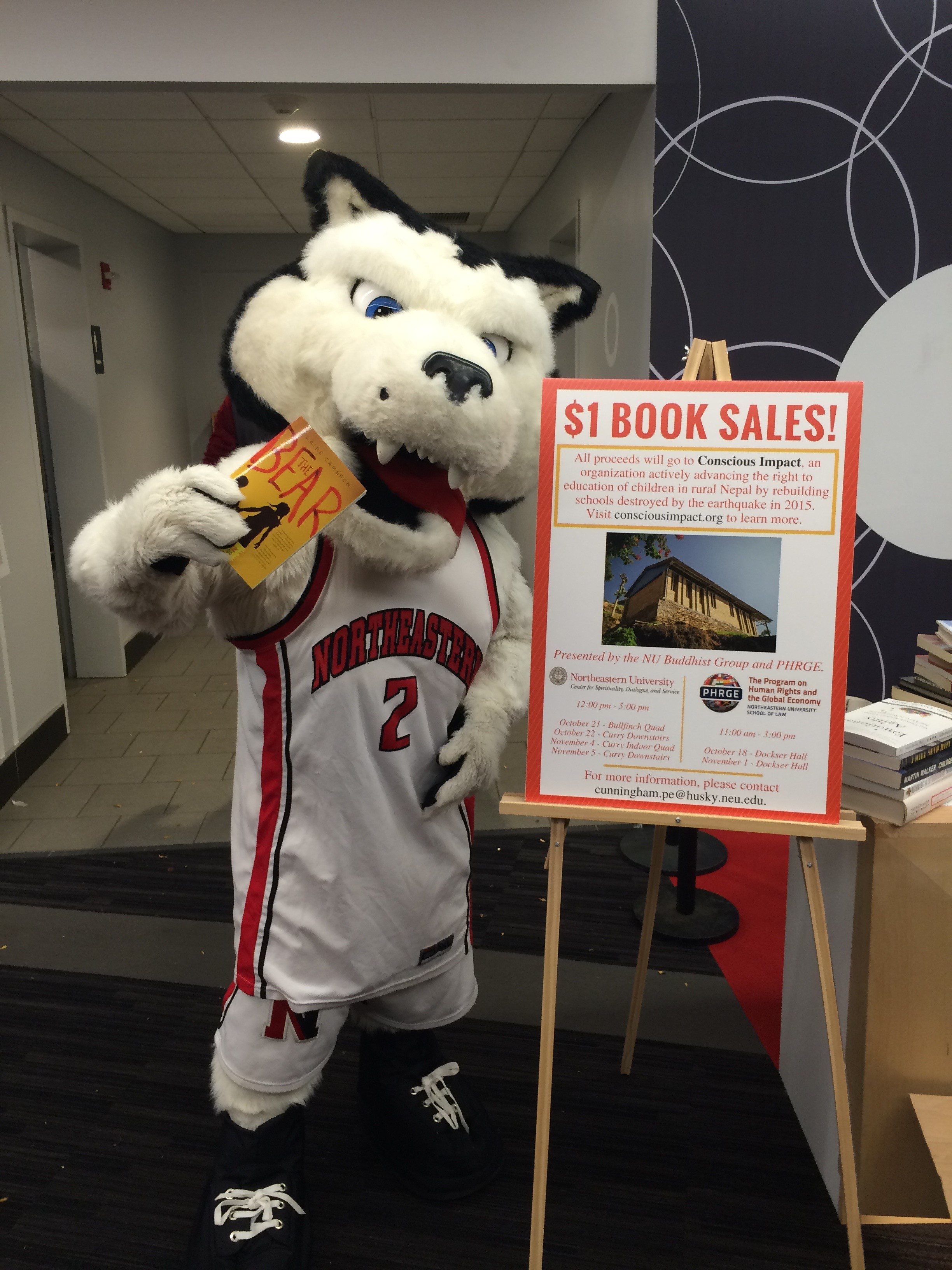 Northeastern's mascot Paws striking a pose!
