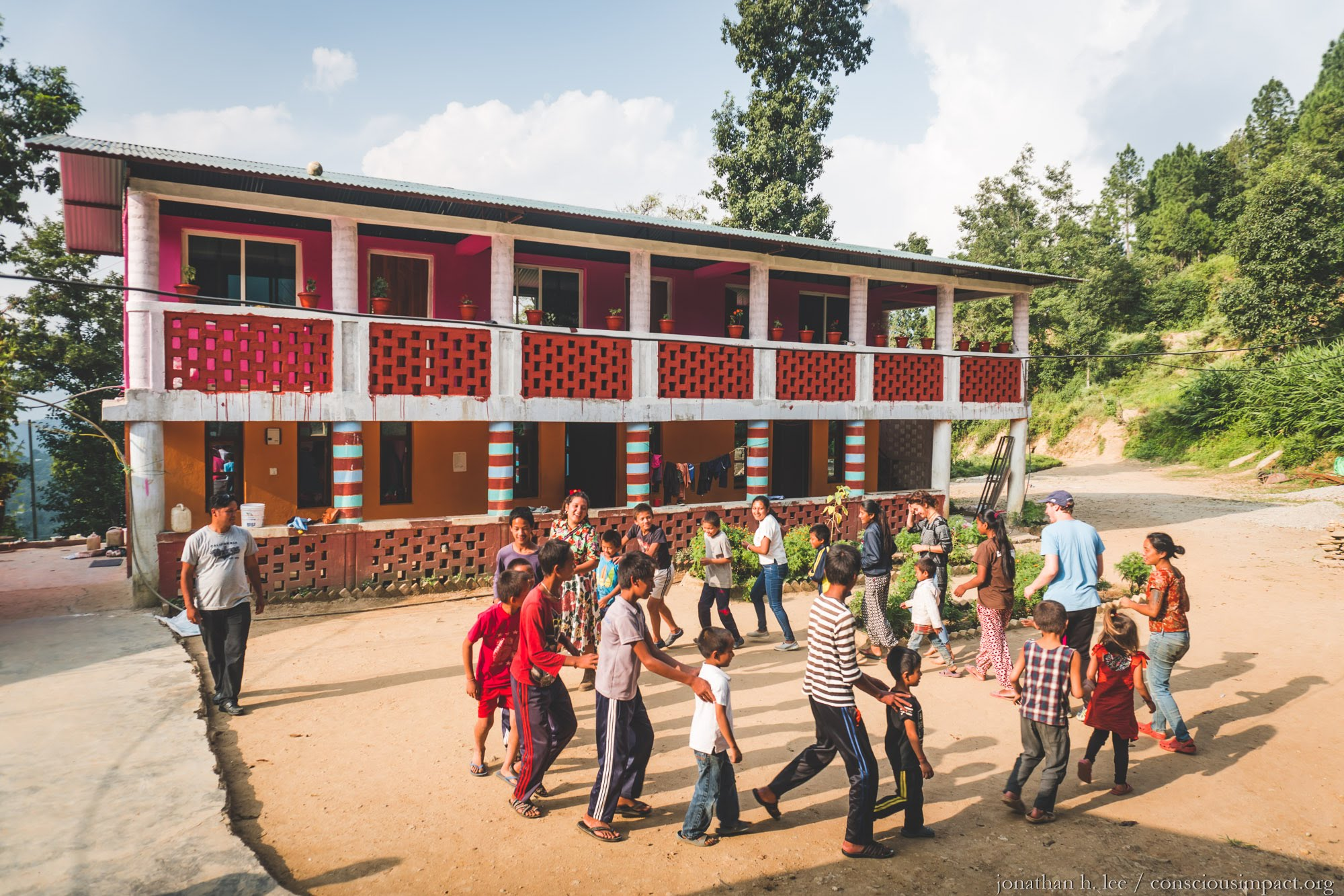 Spending time at the Mother Sister Nepal orphanage. Photo by Jonathan H. Lee