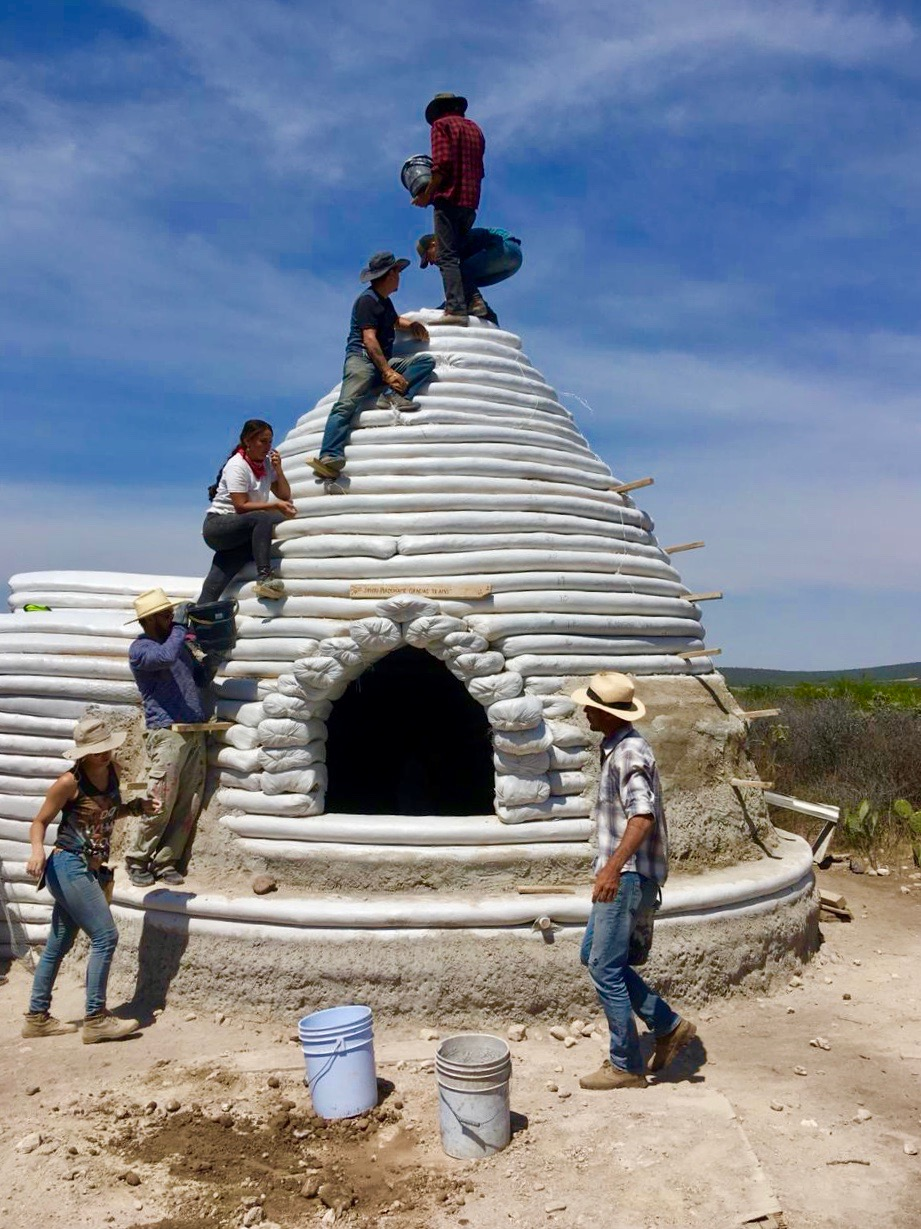 Earthbag dome construction training at Rancho Uha in Guanajato, Mexico where our Lead Engineer Mariana Jimenez studied and volunteered.