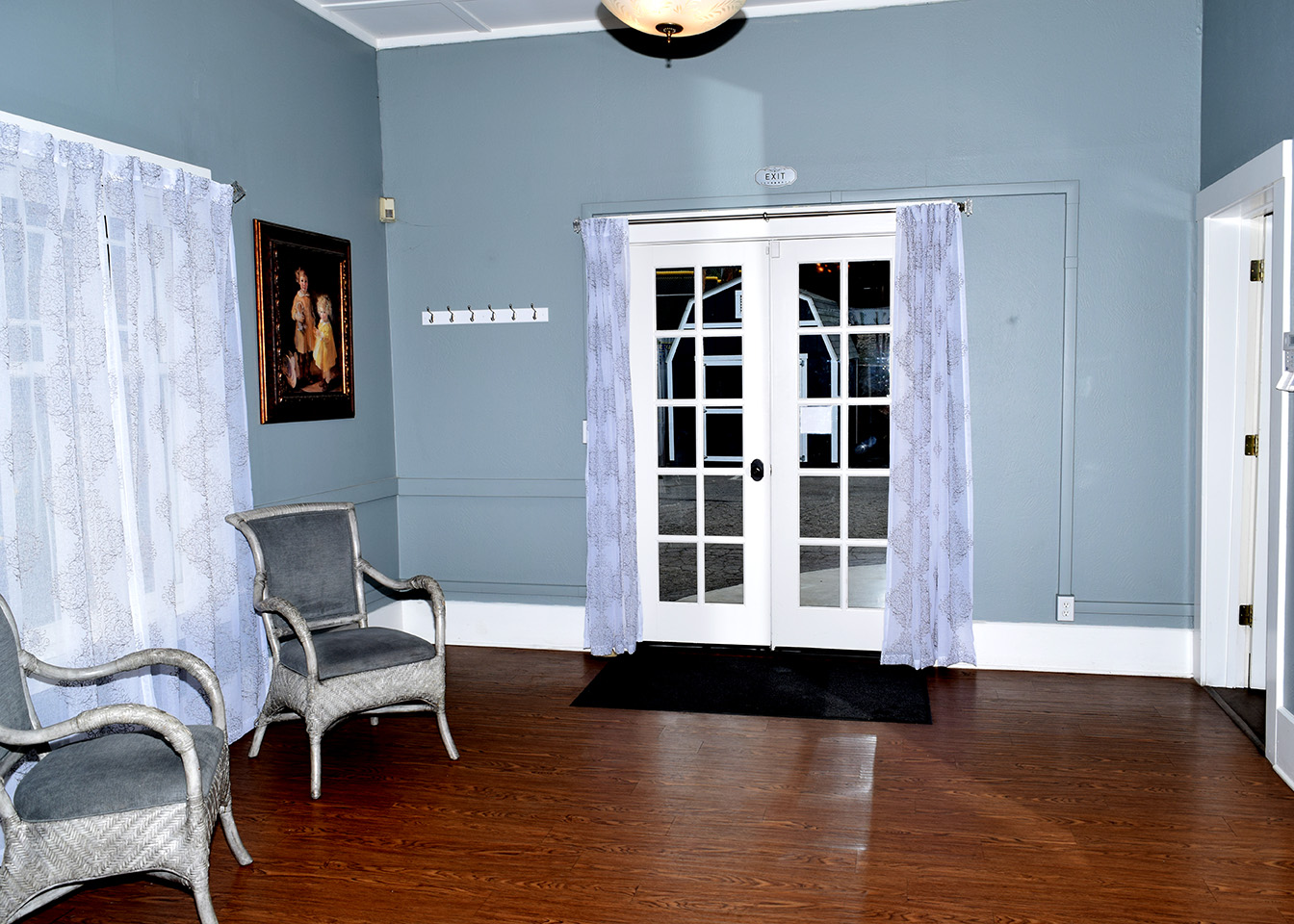 Interior: French doors to side entrance