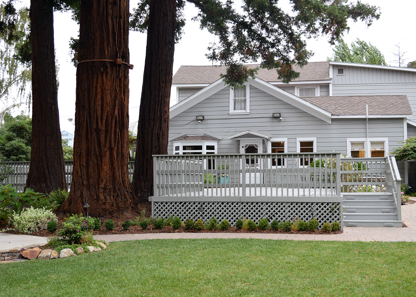 Exterior: redwood trees and house
