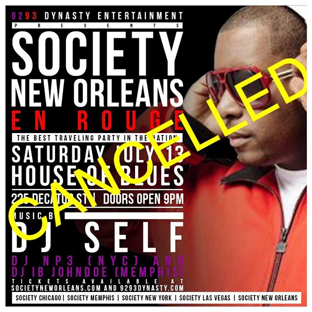 #societyneworleans has been cancelled as @hobnola is closed for the weekend due to the impending storm and anticipated flooding in the immediate area. We thank everyone for their support of the event. Ticketholders have already been notified via Universe.