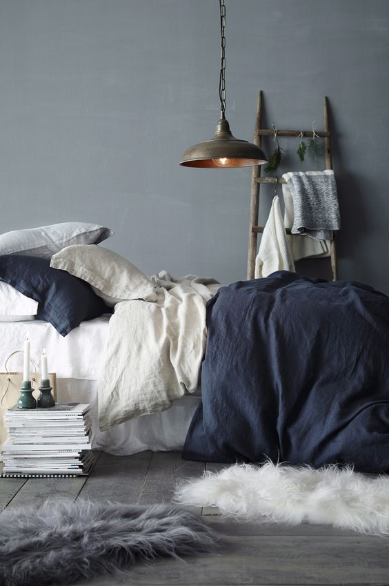 Grey and Blue Bedroom Decor