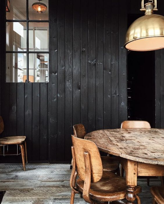 Image via Now and Then Blog - black stained wood panels.