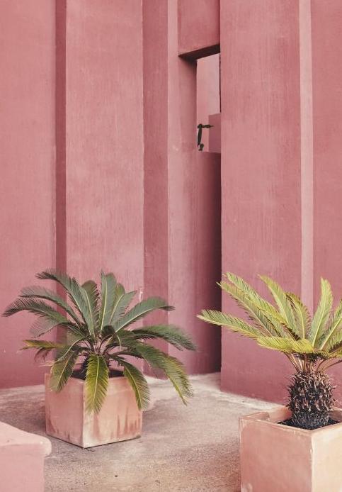 Terracotta colour for interior design colour inspiration, from the Vogue article featuring Ricardo Bofill's La Muralla Roja. Camilla Pearl Colour and Style inspiration for home interiors and fashion with a granny chic vibe.