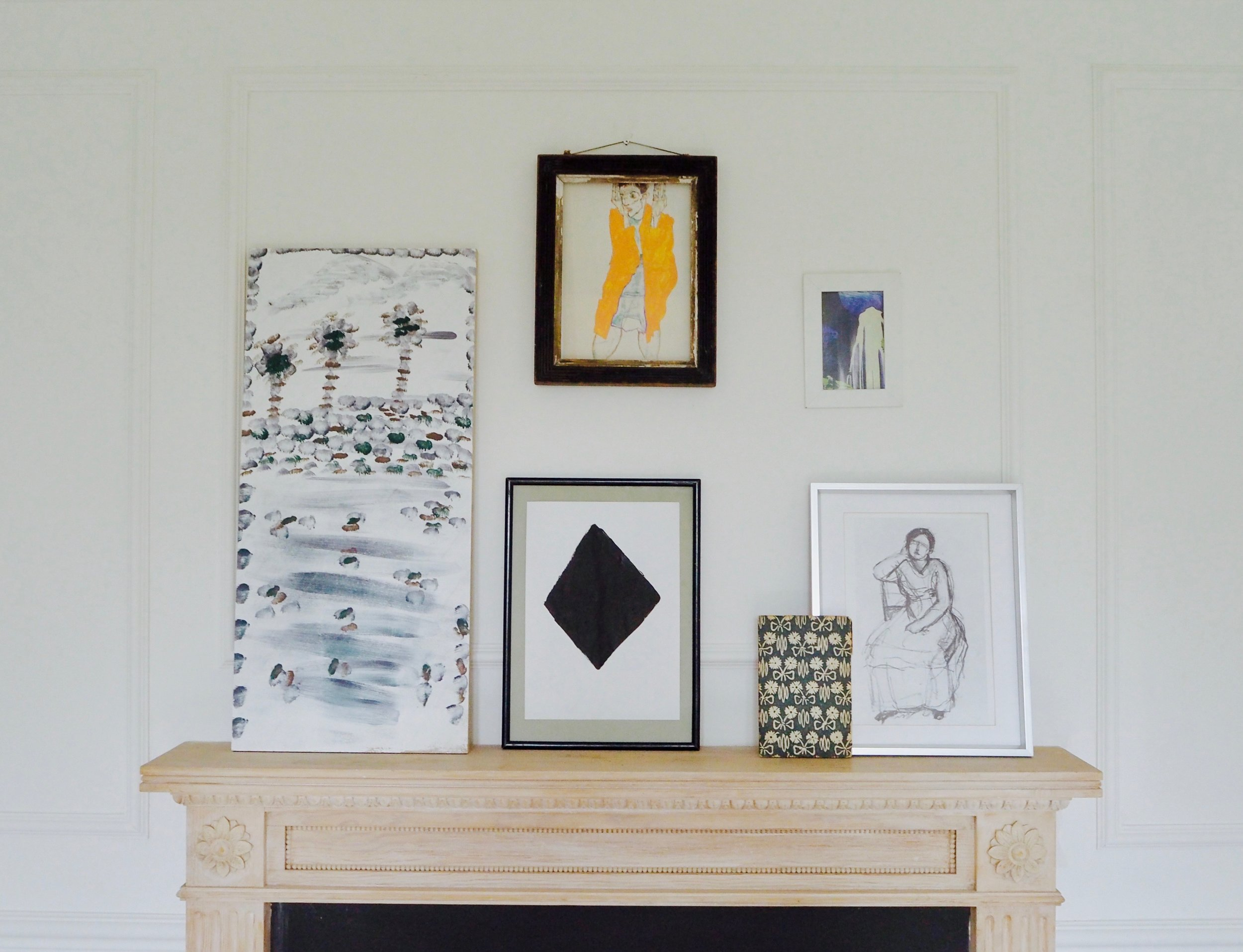 Gallery wall art for styling your mantelpiece by Camilla Pearl Blog.